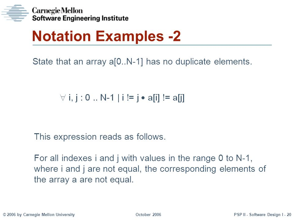Notation Examples -2 State that an array a[0..N-1] has no duplicate elements. This expression reads as follows.